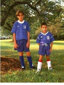 Classic photo of soccer playing sons.